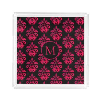 Dark pink damask pattern acrylic tray