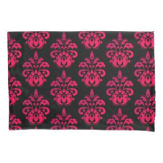 Dark pink damask pattern pillowcase