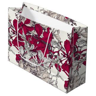 Dark pink drawn artistic floral pattern large gift bag