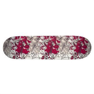 Dark pink drawn artistic floral pattern skateboard decks