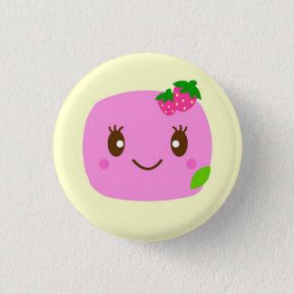 dark pink dumpling strawberry 3 cm round badge