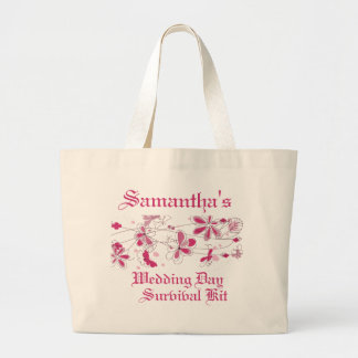 Dark Pink Floral Butterfly Wedding Day Survival Ki Canvas Bags