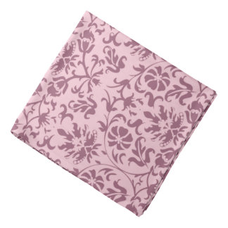Dark Pink Floral Damask on Pink Bandana