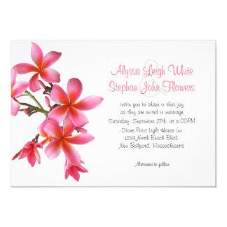 Dark Pink Floral Horizontal Plumeria Wedding 13 Cm X 18 Cm Invitation Card