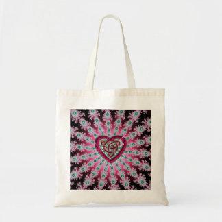 Dark Pink Fractal Mandala Celtic Heart Knot Bag