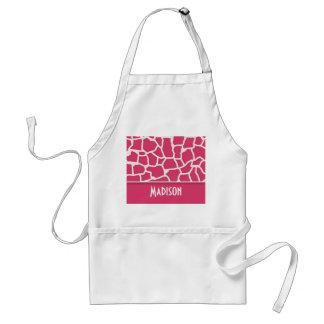 Dark Pink Giraffe Animal Print; Personalized Adult Apron