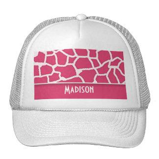 Dark Pink Giraffe Animal Print; Personalized Cap