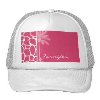 Dark Pink Giraffe Print; Summer Palm Trucker Hat