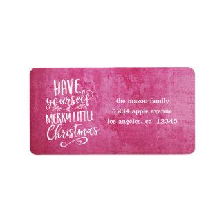 Dark Pink Grunge Merry Little Christmas Script Address Label