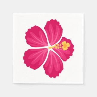 Dark Pink Hibiscus Flower Disposable Napkin
