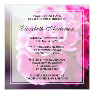 Dark Pink Hydrangea Bridal Shower 13 Cm X 13 Cm Square Invitation Card