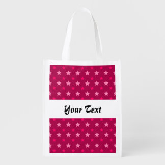 Dark pink pattern with stars reusable grocery bag
