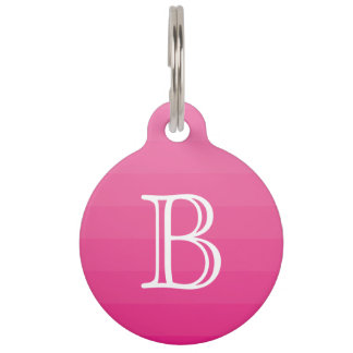 Dark Pink Shades Stripes Monogram Initial Simple Pet Tag