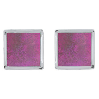 Dark Pink Silver Finish Cuff Links