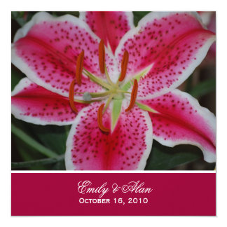 Dark Pink Stargazer Lily Wedding Invitation