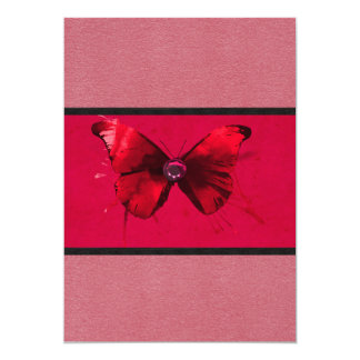 Dark Pink with Butterfly Invitations