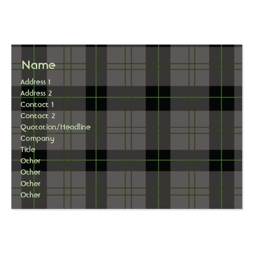 Dark Plaid - Chubby Business Card Templates