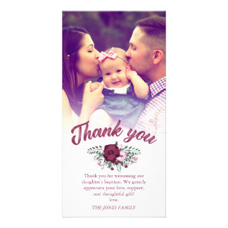 Dark Plum Rose Bouquet Baptism Thank You Photo Card
