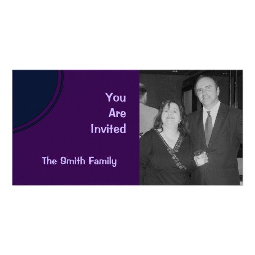 Dark Purple and Blue Mod Party Invite Custom Photo Card