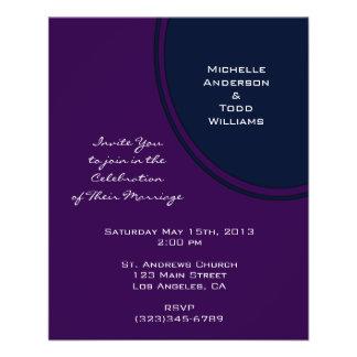 Dark purple and blue modern circle wedding 11.5 cm x 14 cm flyer
