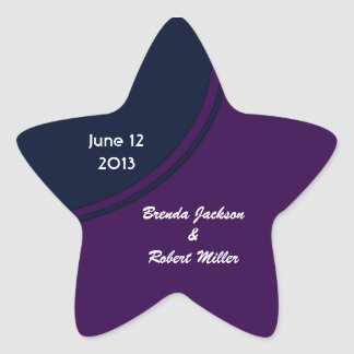 Dark purple and blue modern circle wedding star sticker
