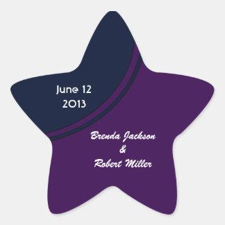 Dark purple and blue modern circle wedding star sticker