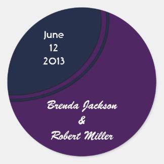 Dark purple and blue modern circle wedding round sticker