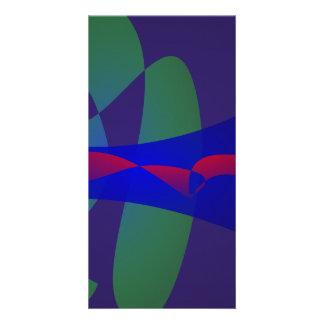 Dark Purple and Blue Simple Abstract Custom Photo Card