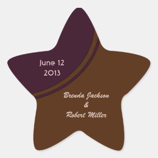 Dark purple and Brown modern Wedding Star Sticker