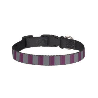 Dark Purple and Grey Striped Dog Collar
