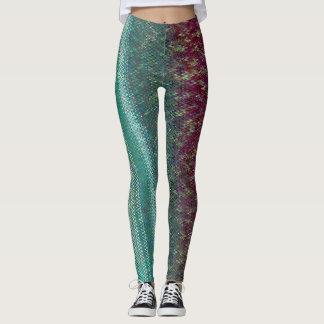 Dark Purple and Sea Green Embroidery Leggings
