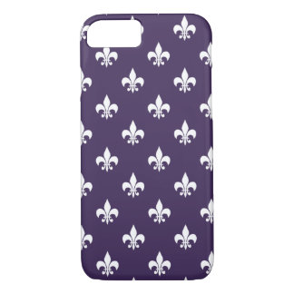 Dark Purple and White Fleur de Lis Pattern iPhone 8/7 Case