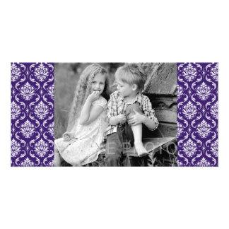 Dark Purple and White Vintage Damask Pattern Customised Photo Card