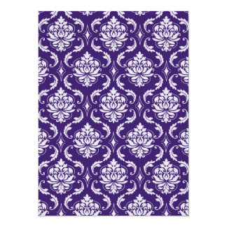 Dark Purple and White Vintage Damask Pattern 14 Cm X 19 Cm Invitation Card