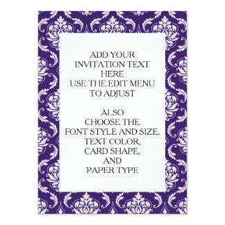 Dark Purple and White Vintage Damask Pattern Personalized Invites
