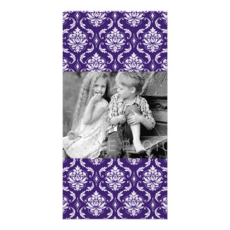 Dark Purple and White Vintage Damask Pattern Personalised Photo Card