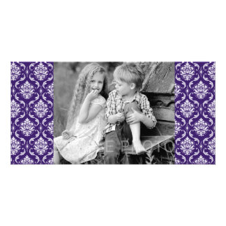 Dark Purple and White Vintage Damask Pattern Personalized Photo Card
