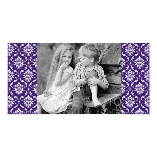 Dark Purple and White Vintage Damask Pattern Personalized Photo Card