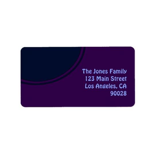 Dark purple blue mod circle address label