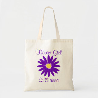 Dark Purple Daisy with Customizable Text Budget Tote Bag