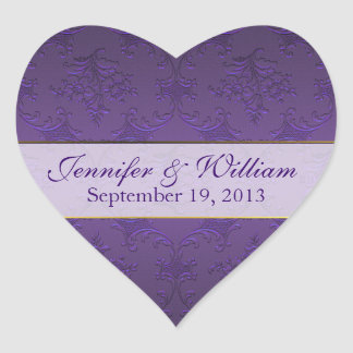 Dark Purple Damask Heart Custom Wedding Sticker