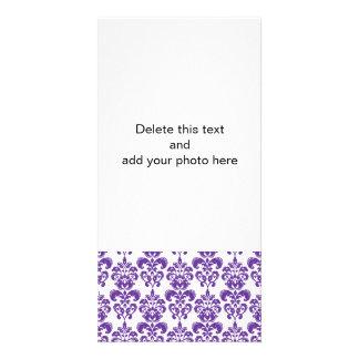 DARK PURPLE DAMASK PATTERN 2 PHOTO CARDS