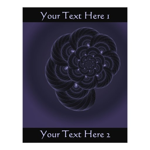Dark Purple Flower Graphic. Spiral. Custom Flyer