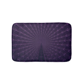 Dark Purple Fractal Peacock Feather Pattern Bath Mats