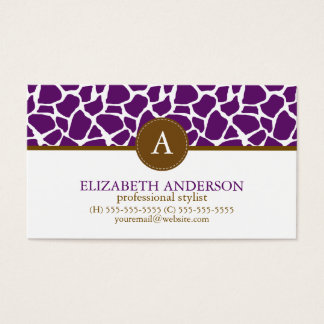 Dark Purple Giraffe Pattern Monogram Business Card