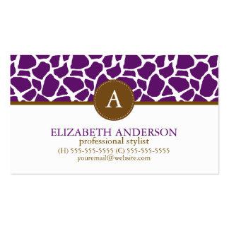 Dark Purple Giraffe Pattern Monogram Pack Of Standard Business Cards