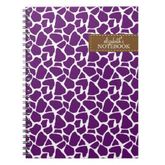 Dark Purple Giraffe Pattern Notebook