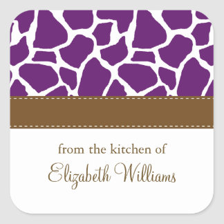 Dark Purple Giraffe Pattern Square Sticker