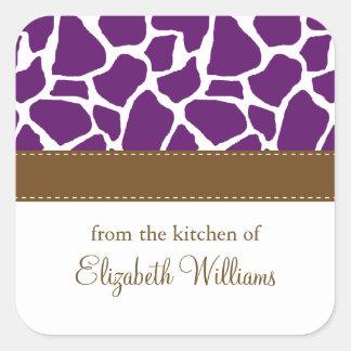 Dark Purple Giraffe Pattern Square Sticker