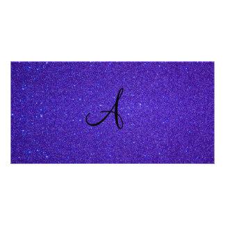 Dark purple glitter monogram gifts personalised photo card